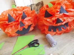 Halloween Pumpkin Tissue Pom Poms