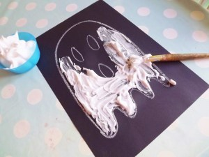 Shaving Foam Halloween Ghosts